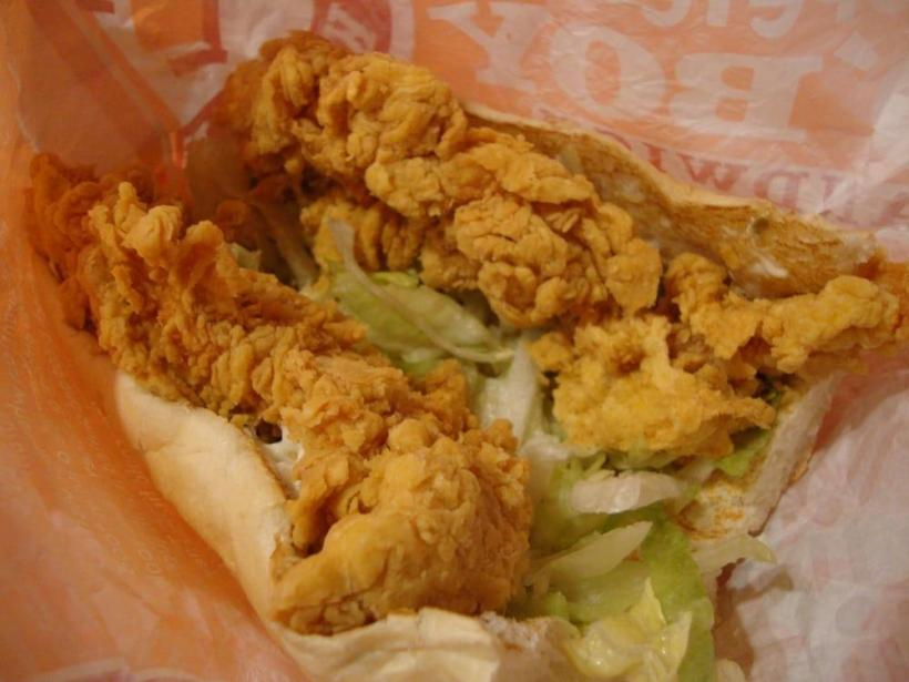The Popeye's Chicken fish Po'boy