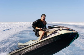 Plowed ice lake road in Minnesota.